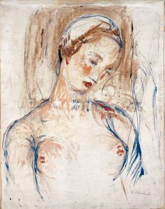 """Das Foto zeigt das """"Frauenbildnis"""" von 1912, das Wilhelm Lehmbruck mit Öl und Tempera auf Leinwand gemalt hat."""