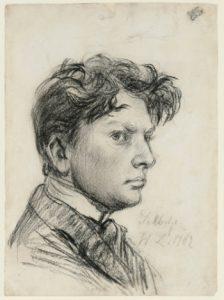 Die Zeichnung ist ein Selbstporträt Wilhelm Lehmbrucks aus dem Jahr 1902.