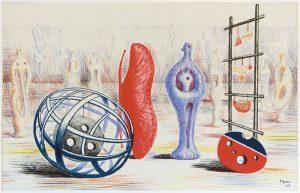 """Dei Abbildung zeigt Henry Moores Grafik """"Skulpturale Objekte"""" von 1949."""