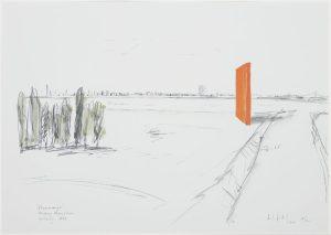Das Bild zeigt eine Lithografie der Rheinorange von Lutz Fritsch.