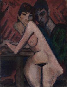 """Das Foto zeigt das expressionistische Gemälde """"Paar in der Kaschemme"""" von Otto Mueller."""