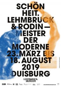 """Das Bild zeigt das Plakat zur Ausstellung """"Schönheit. Lehmbruck & Rodin - Meister der Moderne""""."""