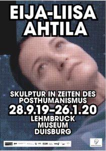 """Das Bild zeigt das Plakat zur Ausstellung """"Eija-Liisa Ahtila. Skulptur in Zeiten des Posthumanismus""""."""