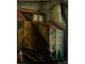 Das Gemälde zeigt den Blick aus einem Fenster auf das gegenüberliegende Haus.